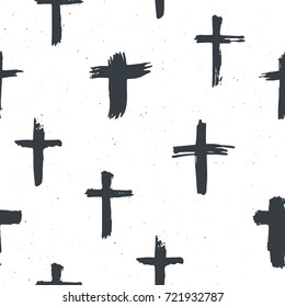 Cross symbols seamless pattern grunge hand drawn Christian crosses, religious signs icons, crucifix symbol vector illustration .