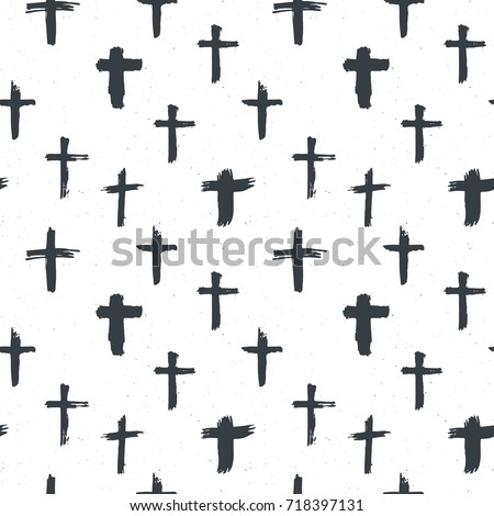Cross Symbols Seamless Pattern Grunge Hand Stock Vector Royalty