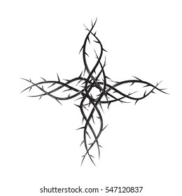 Cross of thorns, black and white simple vector illustration, symbol of the passion of Jesus Christ and Lent season.