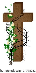 Cross with thorns and roses,  color vector illustration, symbol of the passion of Jesus Christ and Lent season.