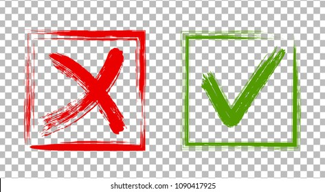 Cross and tick signs, check marks graphic design. Red X and green brush symbolic OK icon in square frames on transparent. Rejection and approval symbol vector buttons for vote, election choice.