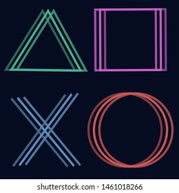 cross triangle square circle design game Sony play station 4 symbols icons