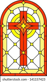 Cross, vector illustration in stained glass style