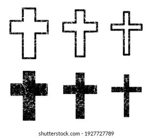 Cross vector shape symbol. Christianity sign with grunge texture. Christian religion icon. Catholic and protestant faith logo or image. Silhouette isolated on background.