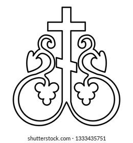 Cross vine Cross monogram Symbol secret communion sign Religious cross anchors icon black color outline vector illustration flat style simple image