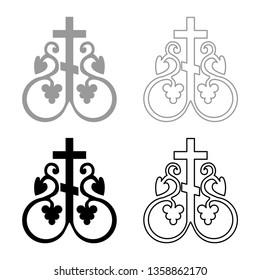 Cross vine Cross monogram Symbol secret communion sign Religious cross anchors icon set black color vector illustration flat style simple image