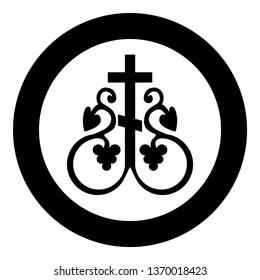 Cross vine Cross monogram Symbol secret communion sign Religious cross anchors icon in circle round black color vector illustration flat style simple image