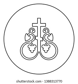 Cross vine Cross monogram Symbol secret communion sign Religious cross anchors icon in circle round outline black