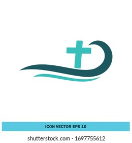 cross and wave icon christian symbol design element vector eps 10
