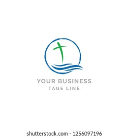 cross and wave for religious business