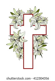 Cross with white lilies. Christian symbol of purity and innocence. colored vector illustrations isolated on white background.