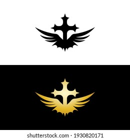 Cross wings Gold and Black for Church Logo Vector template creative icon design