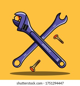 cross wrench with falling screw on yellow background