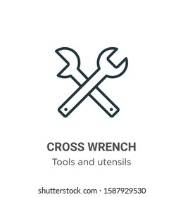 Cross wrench outline vector icon. Thin line black cross wrench icon, flat vector simple element illustration from editable tools and utensils concept isolated on white background