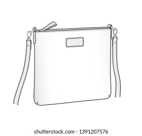 crossbody bag outline, daily purse vector illustration sketch template isolated on white background