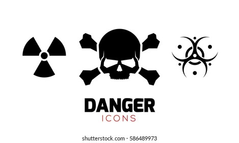 Crossbones / Death Skull / Biohazard / Radiation Symbols. Black Danger Icon Set on White Background. Vector Illustration.