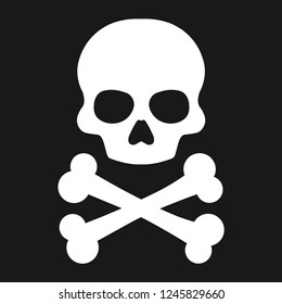 Crossbones , death skull, danger or poison flat icon for apps and websites