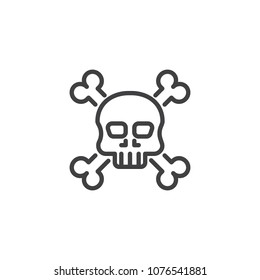 Crossbones death skull outline icon. linear style sign for mobile concept and web design. Skull with crossbones simple line vector icon. Symbol, logo illustration. Pixel perfect vector graphics