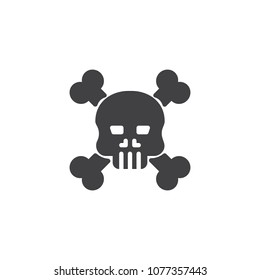 Crossbones death skull vector icon. filled flat sign for mobile concept and web design. Skull with crossbones simple solid icon. Symbol, logo illustration. Pixel perfect vector graphics