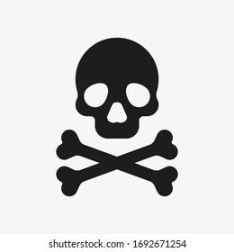 Crossbones icon. Death symbol. Black vector illustration of skull and bones isolated on white background. Poison symbol vector.