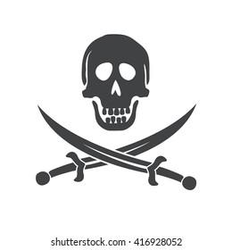 Crossbones logo. Skull death flat icon.