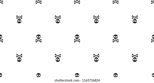Crossbones seamless pattern Halloween vector skull bone Ghost poison scarf isolated repeat wallpaper tile background