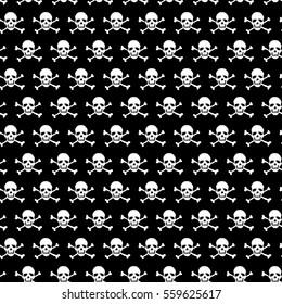 Crossbones and skull pattern on black background