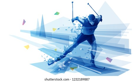 Cross-country skier on the run
