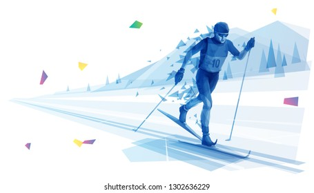 Cross-country skier on the run (Blue)