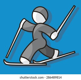 Cross-country skier running.