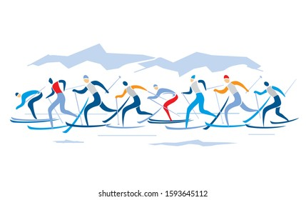 Cross-country skiing competition. Illustration of nordic skiing competitors with mountains on background. Vector available.