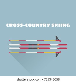 Cross-country skiing flat vector illustration. Cross-country equipment vector illustration. Winter sport.