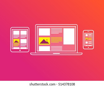 cross-devices icons for advertising and marketing industry