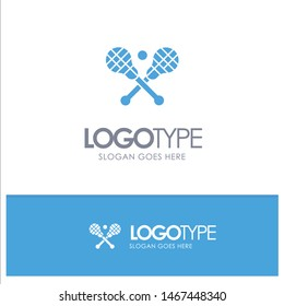 Crosse, Lacrosse, Stick, Sticks Blue Solid Logo with place for tagline. Vector Icon Template background