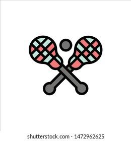 Crosse, Lacrosse, Stick, Sticks  Flat Color Icon. Vector icon banner Template