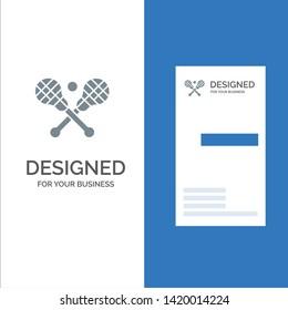 Crosse, Lacrosse, Stick, Sticks Grey Logo Design and Business Card Template