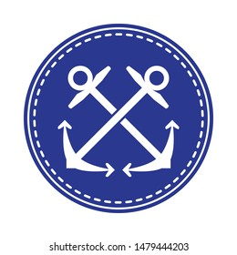 Crossed anchors symbol, negative in navy blue circle. Sailing and nautical equipment  symbol