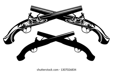 crossed antique dueling pistols - black and white weapon vector design set