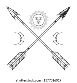Crossed arrows with crescents and full moon line art. Boho sticker, print or blackwork flash tattoo art design vector illustration.