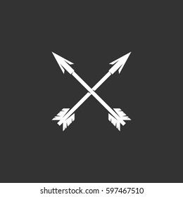 Crossed arrows icon illustration isolated on black background. Crossed arrows vector logo. Flat design style. Modern vector pictogram, sign, symbol for web graphics - stock vector