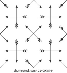 Crossed arrows icon seamless pattern on white background. Flat design. Vector Illustration