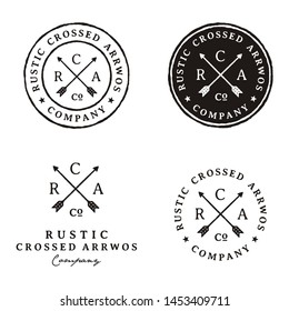 Crossed Arrows Vintage Retro Rustic Hipster Stamp logo design