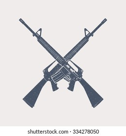 crossed assault rifles, automatic firearm, guns, vector illustration