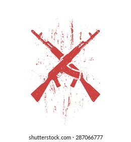 crossed assault rifles grunge design, isolated in red and white, vector illustration, eps10, easy to edit