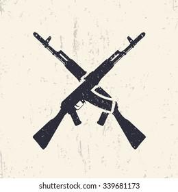 crossed assault rifles, grunge design elements, vector illustration