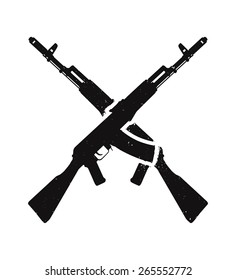 crossed assault rifles, with texture, isolated in black and white, vector illustration, eps10