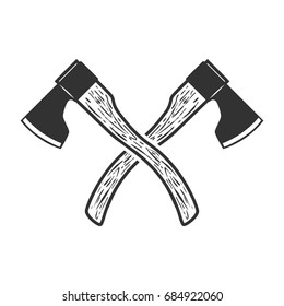 Crossed axe isolated on white background. Vector illustration