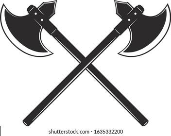 Crossed Axes, Crossed Broad axe, medieval axe, Battle axe, executioner axe in vector