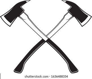 Crossed Axes, Crossed Firefighter Axe, Fire Service Fireman Axe, Hatchet in Vector Format