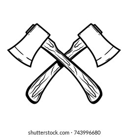 Crossed axes isolated on white background. Design element for logo,label,emblem,sign, poster. Vector illustration